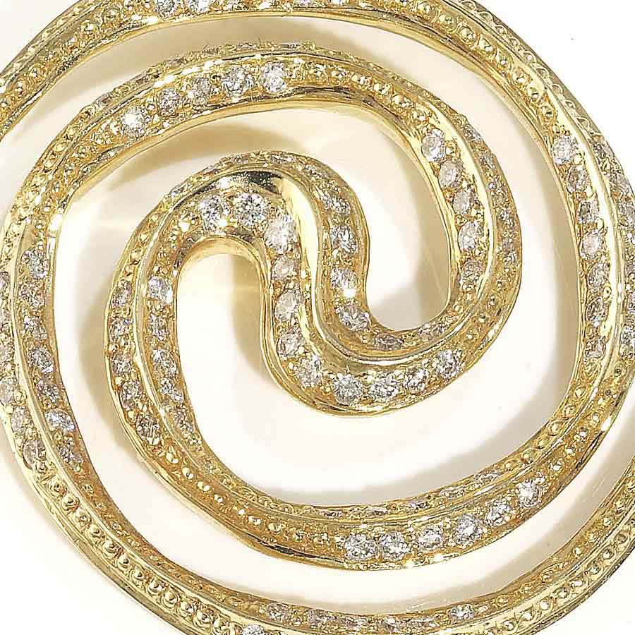Spiral Galaxy 18ct Yellow gold necklace pendant set with diamond ...