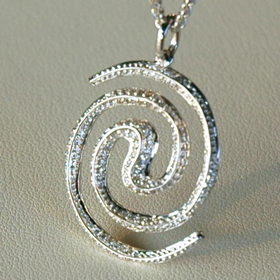 Spiral Galaxy 18ct white gold necklace pendant set with diamond ...