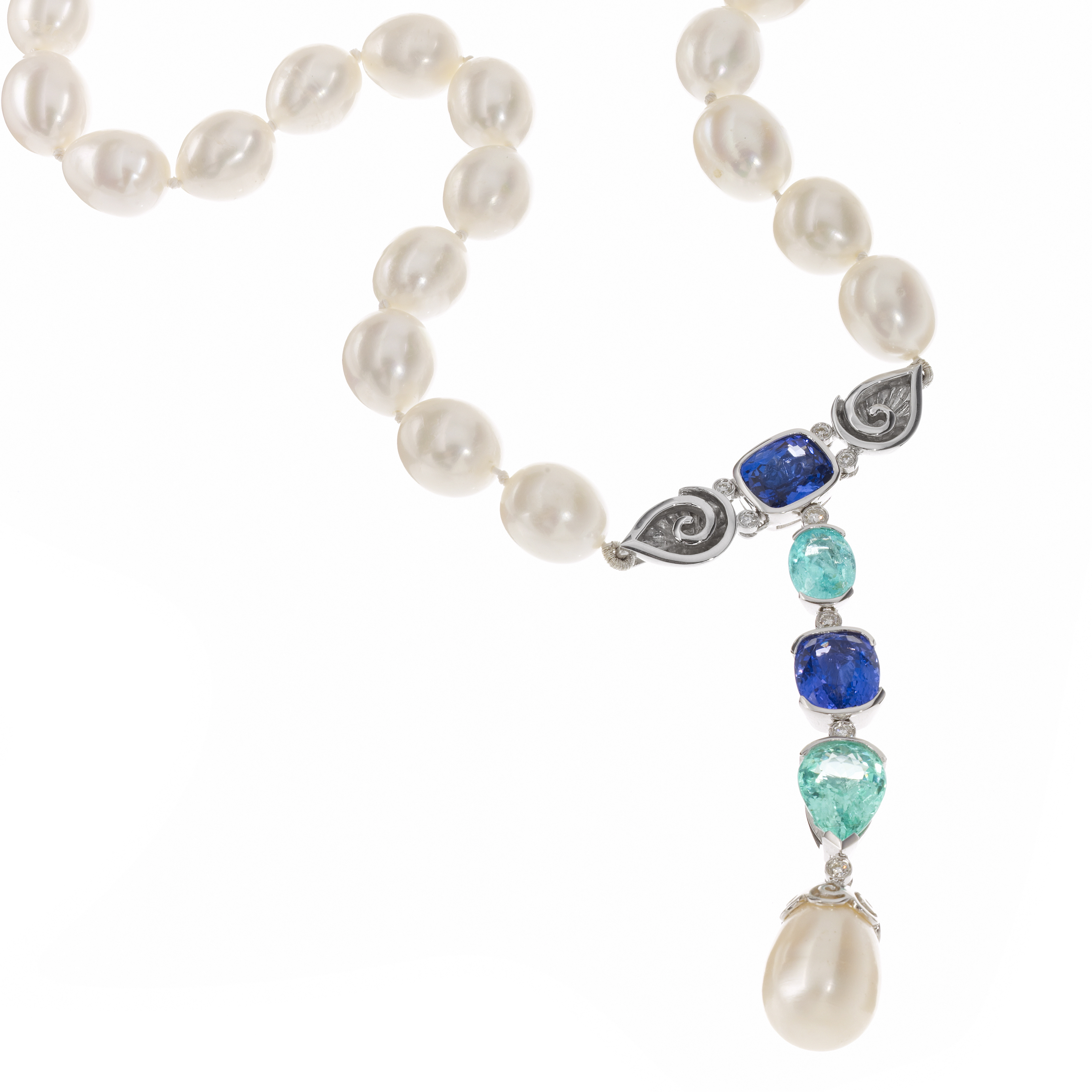 Necklace, Tanzanite, Paraiba Tourmaline, Diamond, Pear motif, Pearl necklace.