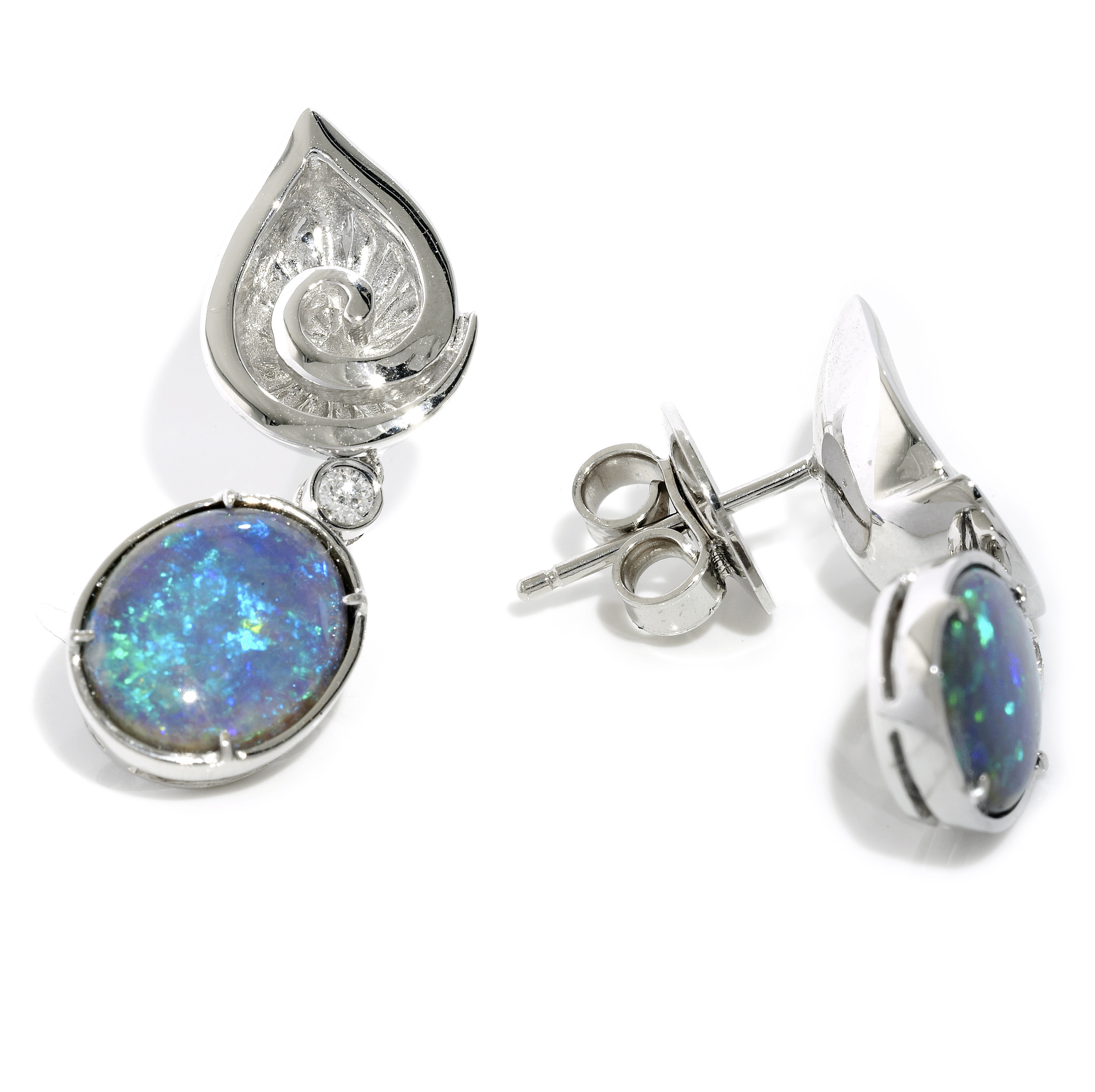 Pear ear studs with Opal drops