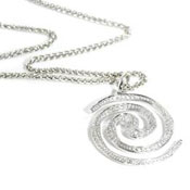 Spiral Galaxy 18ct white gold necklace pendant set with diamond pave.