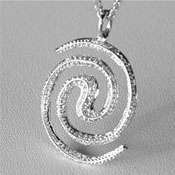 Spiral Galaxy 18ct white gold necklace pendant set with diamond pave