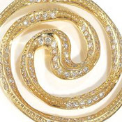 Spiral Galaxy 18ct Yellow gold necklace pendant set with diamond pave