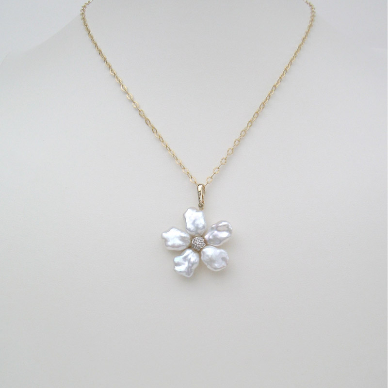 Keshi Pearl Flower Necklace Pendant Gallery