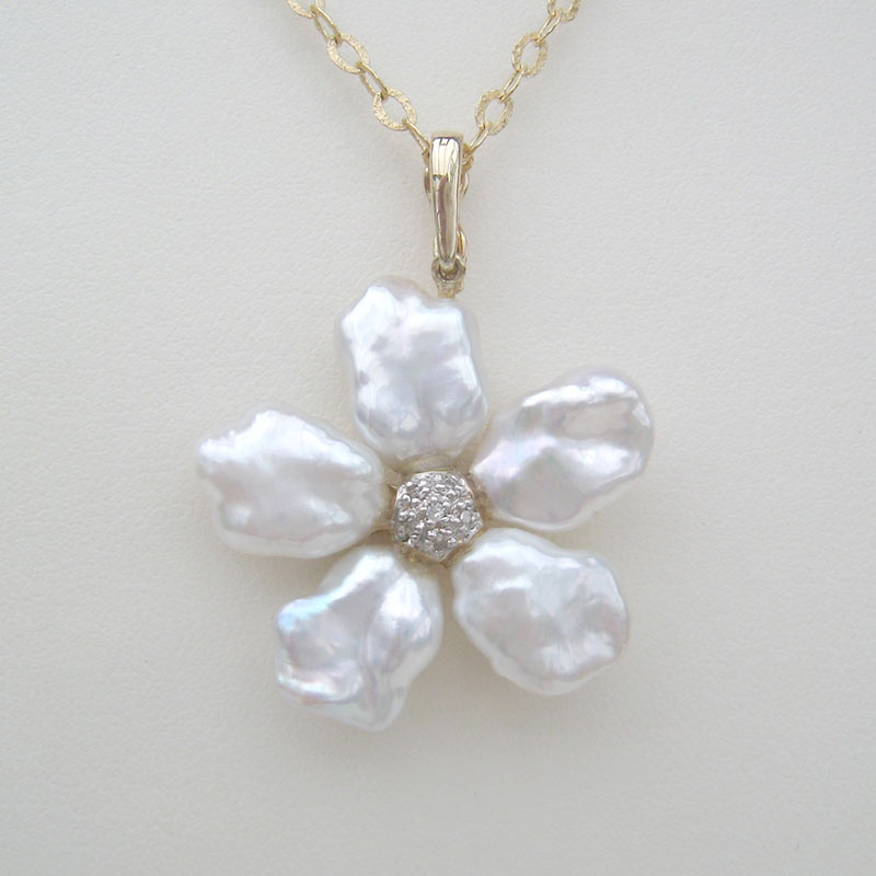 Keshi Pearl Flower Necklace Pendant