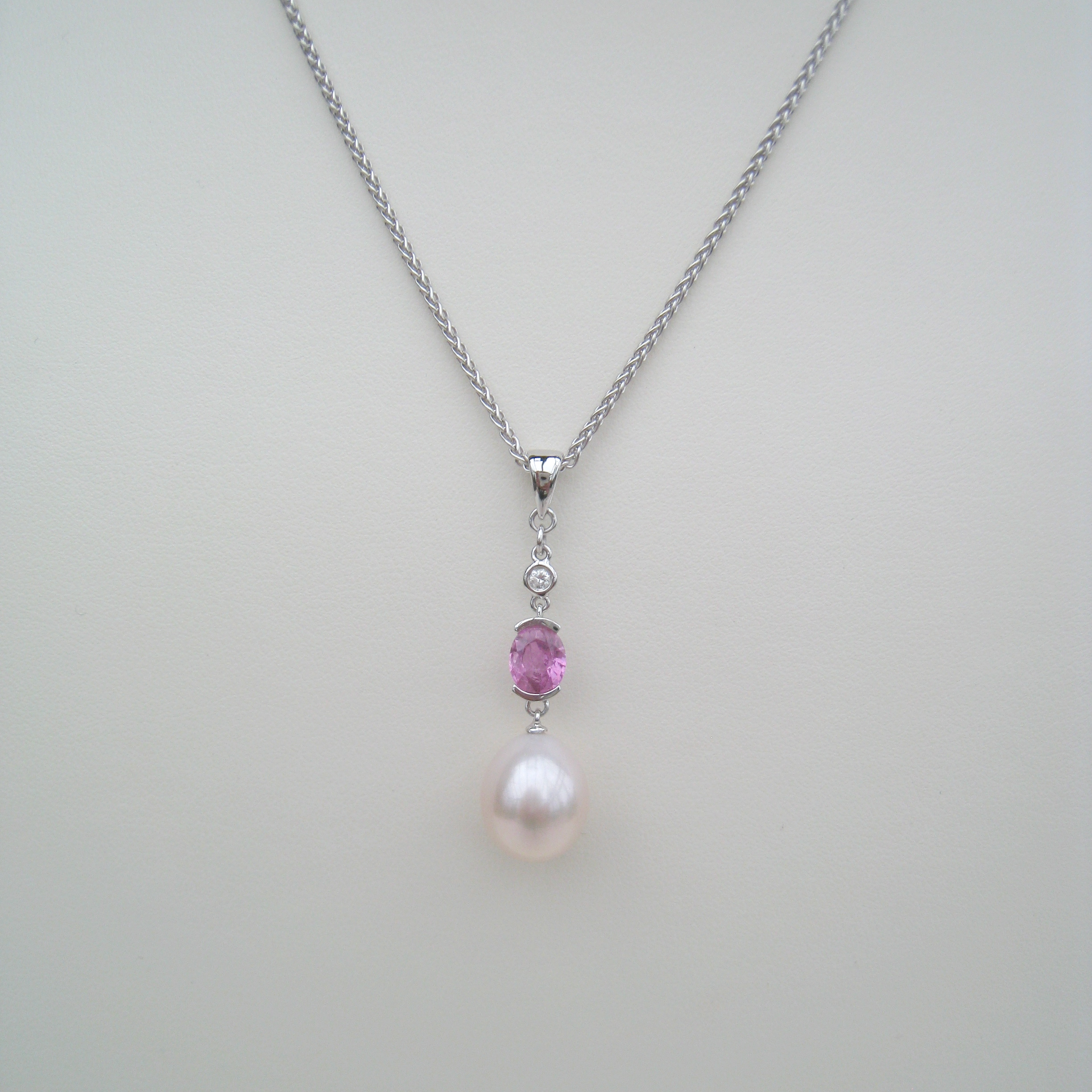 pendant boutique necklace pink pear sapphire diamond
