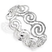 Spiral Galaxy 18ct white gold articulated bangle set with diamond pave